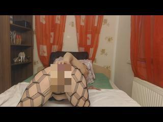 Analsex, verlängerter Rücken, Netzstrümpfe